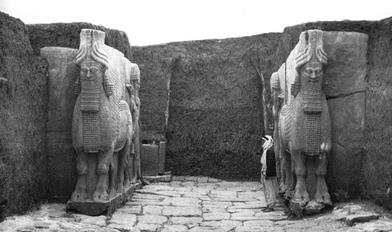 Lamassu of ancient Assyria at the Gate of Sargon II's citadel excavation, Khorsabad