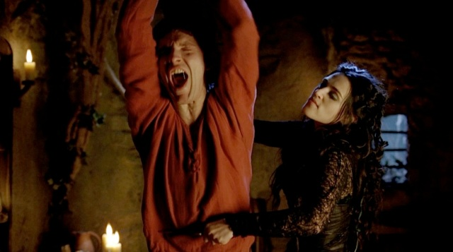 "Morgana tortures Merlin in the BBC series ""Merlin"". I highly recommend the series."